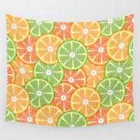 vegetarian Wall Tapestries featuring Citruses by Julia Badeeva