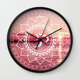 Water Om Mandala : Rose Pink Wall Clock