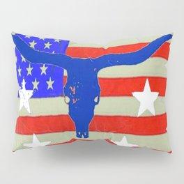 Western Patriotic Texas Longhorn Logo Pattern Art Pillow Sham