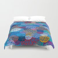 coral Duvet Covers featuring Coral by Helene Michau