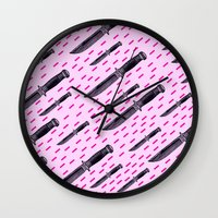 thrones Wall Clocks featuring Tu quoque, Brute, fili mi by Laura Nadeszhda