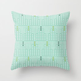 Art Deco Towers Aqua Throw Pillow