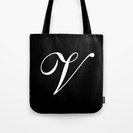 Elegant And Stylish Black And White Monogram V Tote Bag