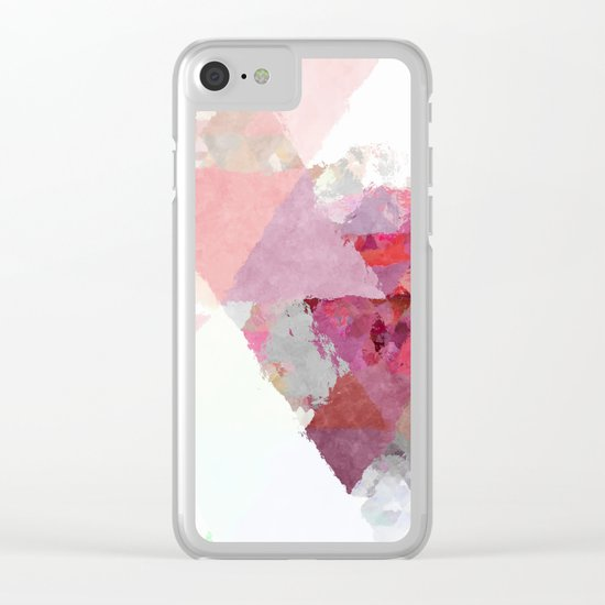 Pink white rosegold triangle pattern Clear iPhone Case