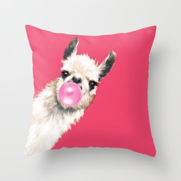 Bubble Gum Sneaky Llama in Red Throw Pillow