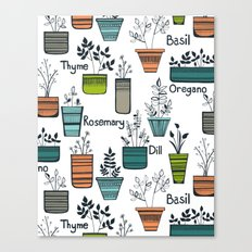 Black Border Herbs Canvas Print