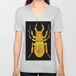 GOLDEN STAG HORNED STYLE BEETLE ABSTRACT BLACK Unisex V-Neck