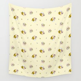Pug Bee Pattern Wall Tapestry