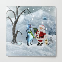Funny snowman and Santa Claus Metal Print