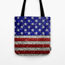 Glitter Sparkle American Flag Pattern Tote Bag