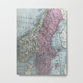 Norway and Sweden, antique map Metal Print