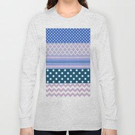 Abstract geometric pastel color chevron polka dots pattern Long Sleeve T-shirt