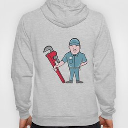 Plumber Standing Attention Wrench Cartoon Hoody