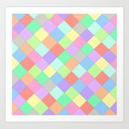 Coloured Squares With Black Lines Art Print