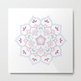 Floral Mandala in soft pastel colors Metal Print