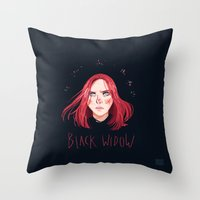 black widow Throw Pillows featuring Black Widow by Galaxyspeaking
