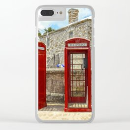 Red Phone Booths In Bermuda Clear iPhone Case