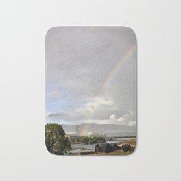 The Dalles Oregon - Rainbow Over The Dalles Dam Bath Mat