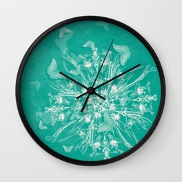 ghost bouquet and butterflies  on teal Wall Clock