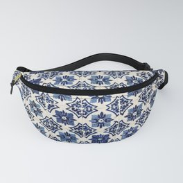 Vintage Blue Ceramic Tiles Fanny Pack