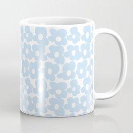 Mini Baby Blue Retro Flowers White Background #decor #society6 #buyart Coffee Mug