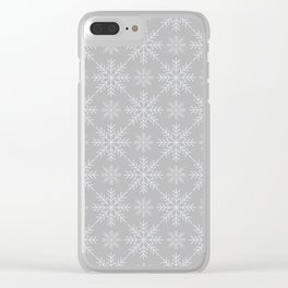 Snowflakes on Gray Clear iPhone Case