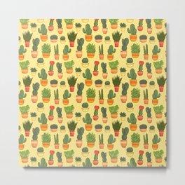 Cactus and Succulent (Tan) Metal Print