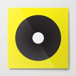 White dot on black on yellow Metal Print