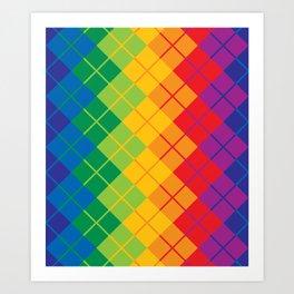 Rainbow Argyle Art Print