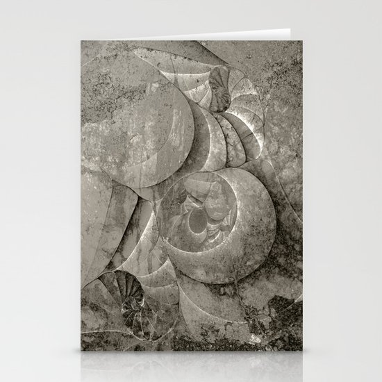 Fossilized Shells - Black & White Stationery Cards