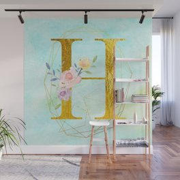 Gold Foil Alphabet Letter H Initials Monogram Frame with a Gold Geometric Wreath Wall Mural