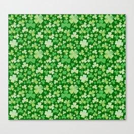 Lucky Green Watercolour Shamrock Pattern Canvas Print