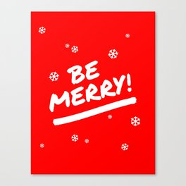 Bright Red Be Merry Christmas Snowflakes Canvas Print