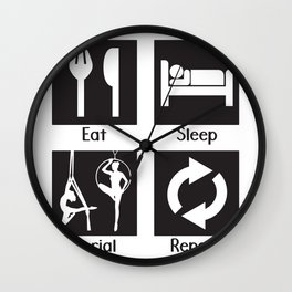 Eat Sleep Aerial Repeat Wall Clock