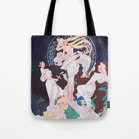 mucha Tote Bags featuring Sailor Mucha by Dixie Leota