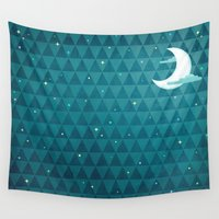 night sky Wall Tapestries featuring Night Sky by littleclyde