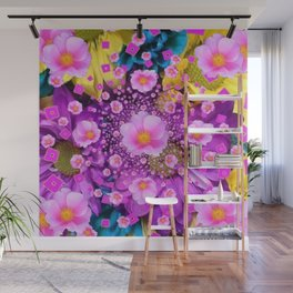 Delicate Pink Roses & Colored Flowers Art Nature Design Wall Mural
