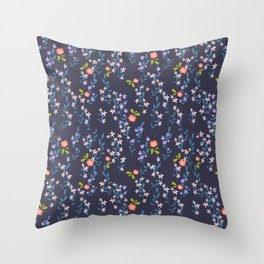 Wild Flower Blooms Orange and White on Navy Blue Throw Pillow
