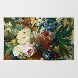 """Jan van-Huysum """"Flowers in a Vase with Crown Imperial and Apple Blossom"""" Rug"""