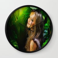amy hamilton Wall Clocks featuring Amy by Robin Curtiss