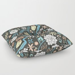 Tulip flowerbed, blue Floor Pillow