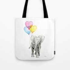 Elephant Watercolor with Balloons Rainbow Hearts Baby Whimsical Animal Nursery Prints Tote Bag
