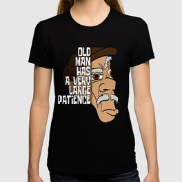 """Unique Half Face Design With Illustration Of An Old Man """"Old Man Has A Very Large Patience"""" T-shirt T-shirt"""