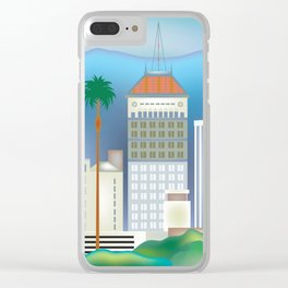 Fresno, California - Skyline Illustration by Loose Petals Clear iPhone Case