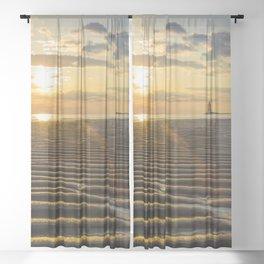 Sandbars and Sunset Coastal Nature / Landscape Photograph Sheer Curtain