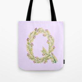 Leafy Letter Q Tote Bag