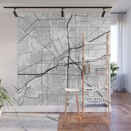 Fort Worth Map, USA - Black and White Wall Mural