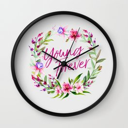 young forever floral Wall Clock