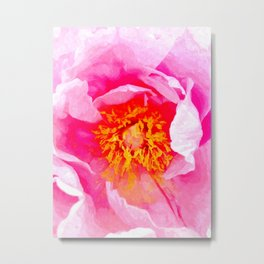 Peony Macro Illustration Metal Print