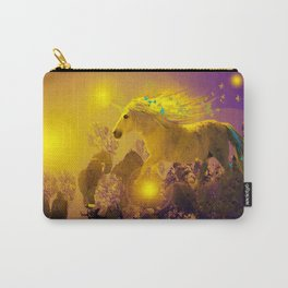 Unicorn In The Night Of Glow - My Fantasy Garden - #society6 Carry-All Pouch